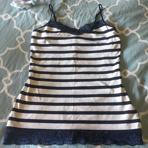Express navy and white stripe tank top